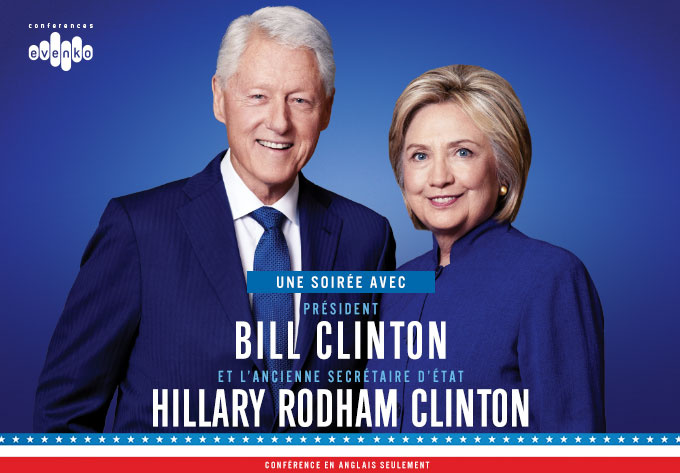 President Bill Clinton & former Secretary of State Hillary Rodham Clinton - November 28, 2018, Montreal